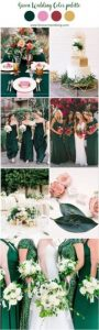 5.-emerald-green-bridesmaid-dresses-pink-and-hunter-green-wedding-greenery-wedding